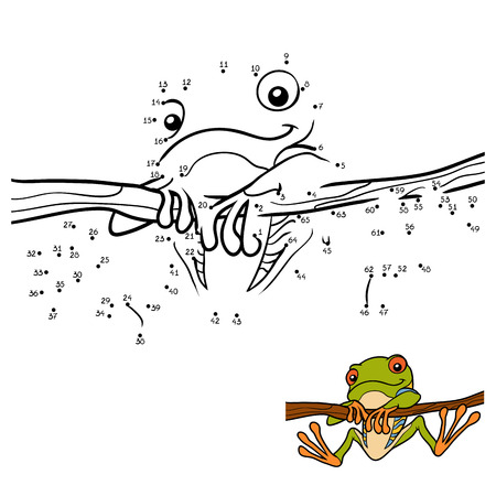 Numbers game, education dot to dot game for children, Red-eyed tree frog