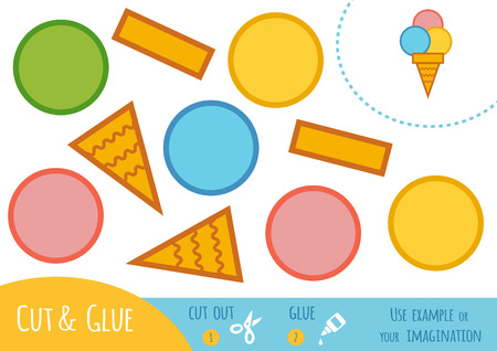 Education paper game for children, Ice cream. Use scissors and glue to create the image.