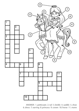 Vector colorless crossword, education game for children. Princess and horse 일러스트