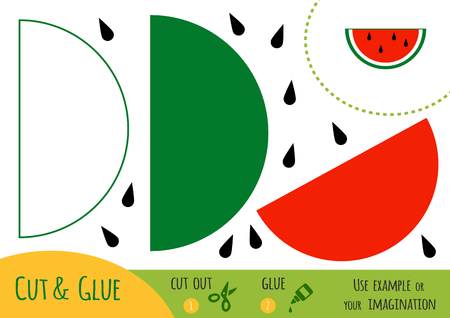 Education paper game for children, Watermelon. Use scissors and glue to create the image.