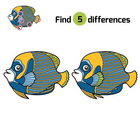 pomacanthus imperator: Find differences, education game for children, Emperor angelfish