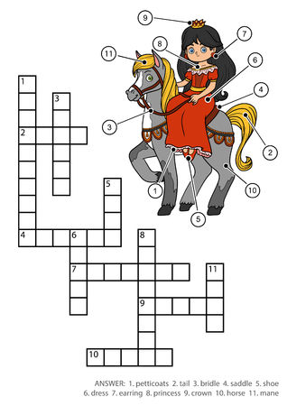 Vector color crossword, education game for children. Princess and horse Illustration