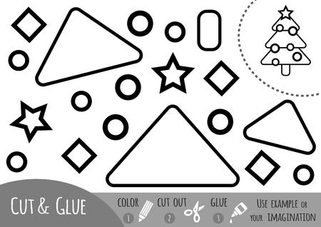 Juego de papel educativo para niños, árbol de Navidad. Utilice lápices de colores, tijeras y pegamento para crear la imagen.