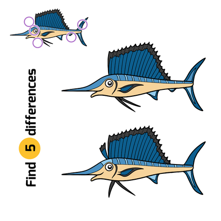 billfish: Find differences, education game for children, Sailfish