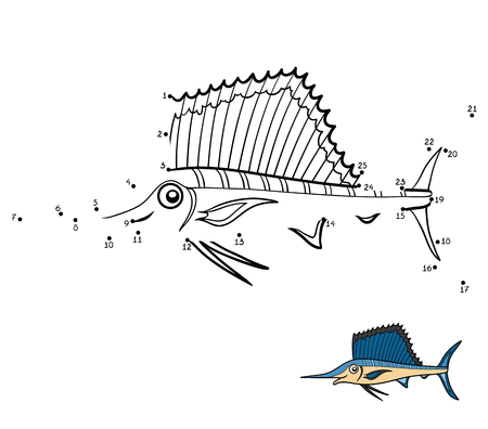 Numbers game, education dot to dot game for children, Sailfish