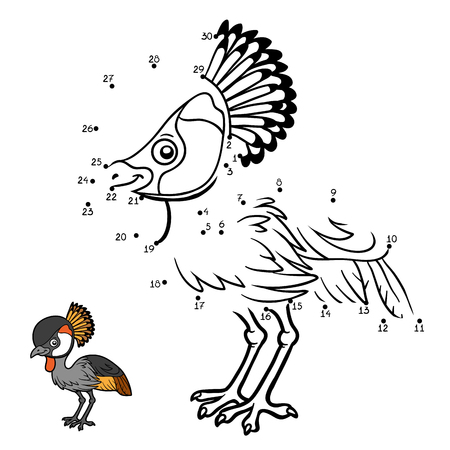 crowned: Numbers game, education dot to dot game for children, Grey crowned crane Illustration