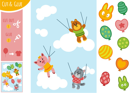 Education paper game for children, animals and balloons. Use scissors and glue to create the image. Illustration