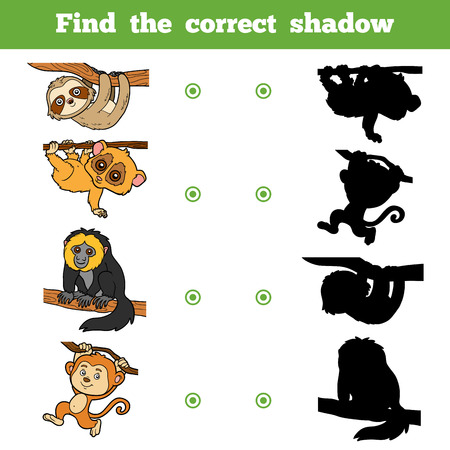 saki: Find the correct shadow, education game for children. Vector set of animals
