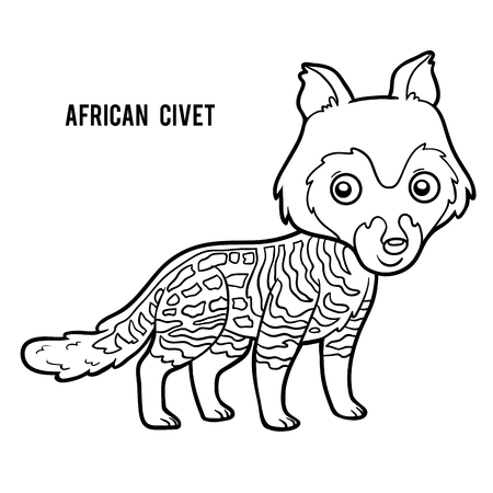 civet cat: Coloring book for children, African civet