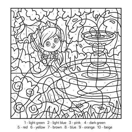 Kleur op nummer, educatief spel voor kinderen. Prinses met paraplu Stock Illustratie