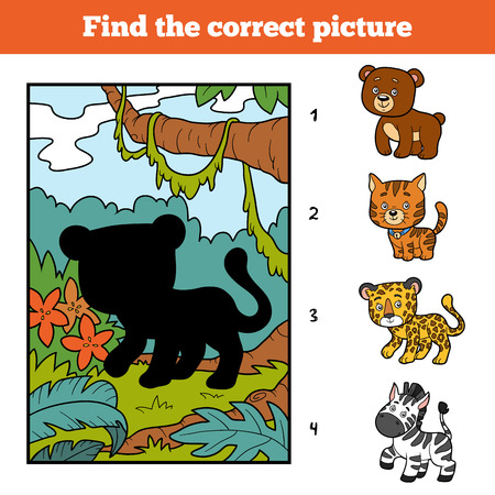 undomestic: Find the correct picture, education game for children. Jaguar and background Illustration