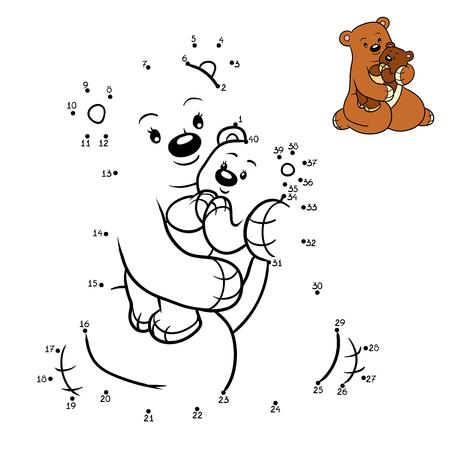 secret number: Numbers game, education dot to dot game for children, Family of bears Illustration