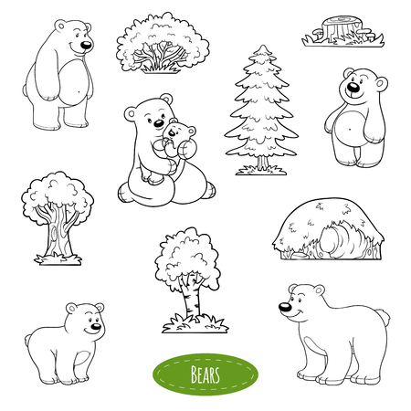animal den: Black and white set of cute animals and objects, family of bears