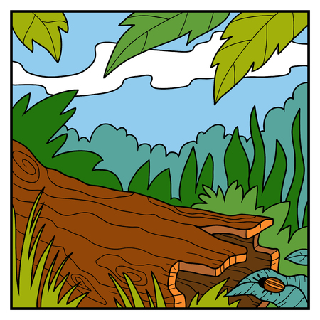 Vector illustration, natural background. A fallen tree in a rainforest