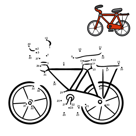 Numbers game, education dot to dot game for children, Bicycle  イラスト・ベクター素材