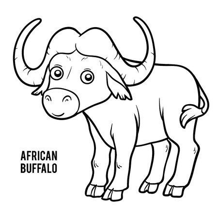 Coloring book for children, African buffalo