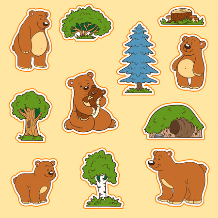 animal den: Color set of cute animals and objects, vector stickers, family of bears