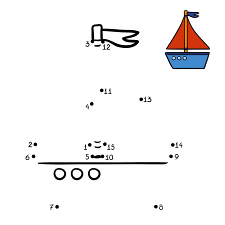 riddle: Numbers game, education dot to dot game for children, Yacht Illustration