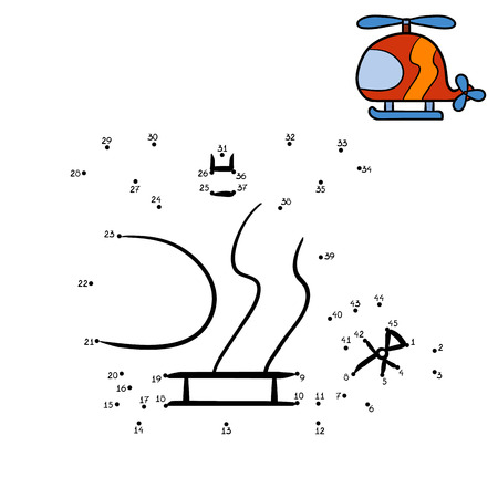 Numbers game, education dot to dot game for children, Helicopter