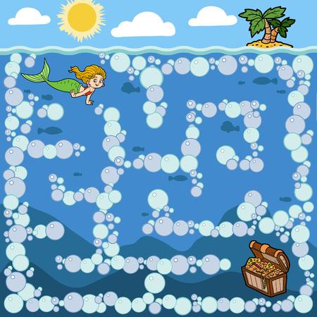 Maze education game for children. Little mermaid and treasure chest Stock Illustratie