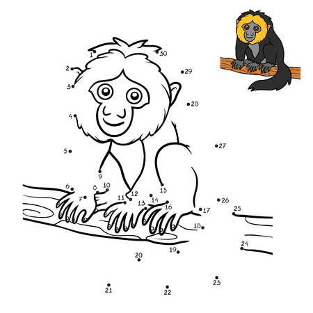 Numbers game, education dot to dot game for children, White-faced saki