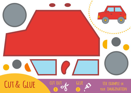 brain teaser: Education paper game for children, Car. Use scissors and glue to create the image.
