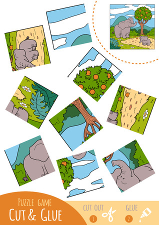 two children: Education puzzle game for children, Two elephants. Use scissors and glue to create the image.