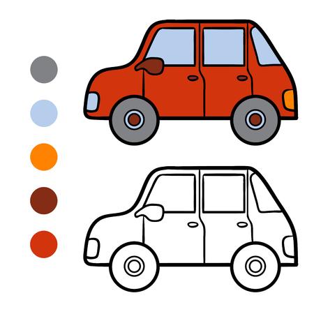 Dibujo Para Colorear Para Niños, Coche Ilustraciones Vectoriales ...