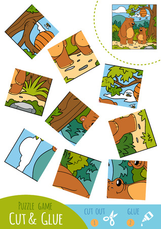 two children: Education puzzle game for children, Two bears. Use scissors and glue to create the image. Illustration