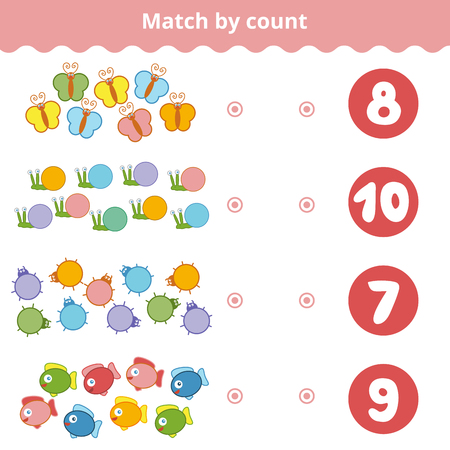 secret number: Counting Game for Preschool Children. Educational a mathematical game. Count animals in the picture and choose the right answer. Illustration