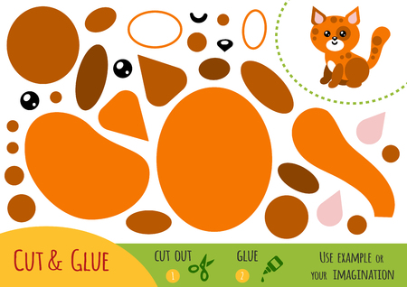 Education paper game for children, Cat. Use scissors and glue to create the image.