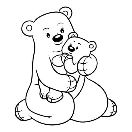 Dibujo Para Colorear Para Niños, Familia De Osos Ilustraciones ...