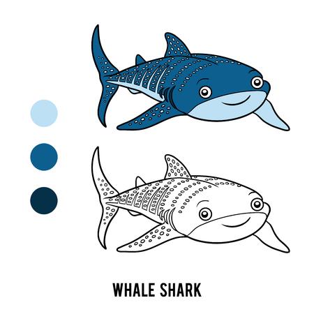plancton: Dibujo para colorear para niños, Tiburón ballena Vectores