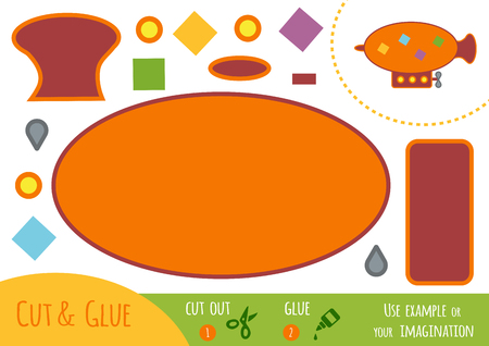 Education paper game for children, Airship. Use scissors and glue to create the image.