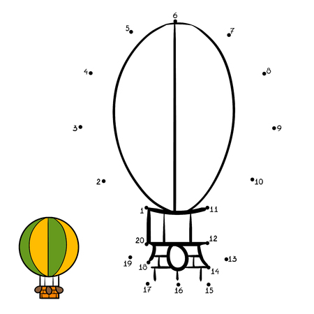Numbers game, education dot to dot game for children, Balloon