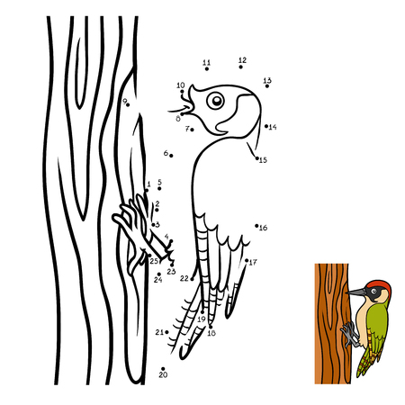 Numbers game, education dot to dot game for children, Green woodpecker Illustration
