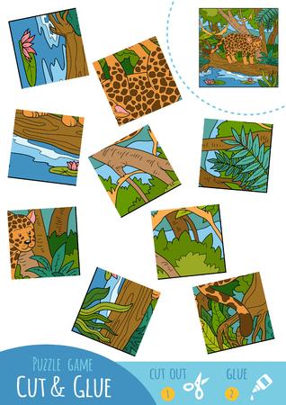 undomestic: Education puzzle game for children, Jaguar. Use scissors and glue to create the image.