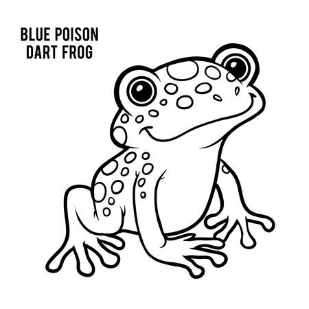 青い毒投げ矢のカエル、子供のための塗り絵