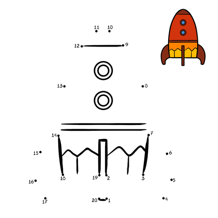 Numbers game, education dot to dot game for children, Spaceship