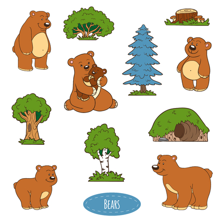 lair: Color set of cute animals and objects, vector stickers, family of bears