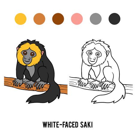 faced: Coloring book for children, White-faced saki