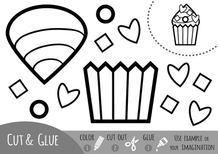 Education paper game for children, cupcake. Use scissors and glue to create the image.