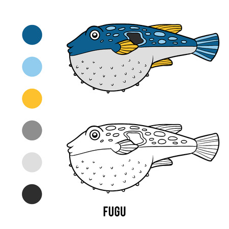Coloring book for children, Fugu