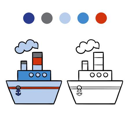 steamship: Coloring book for children, Steamship