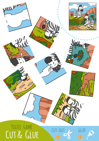 two children: Education puzzle game for children, Two zebras. Use scissors and glue to create the image.