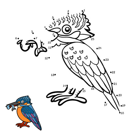Numbers game, education dot to dot game for children, Kingfisher Illustration