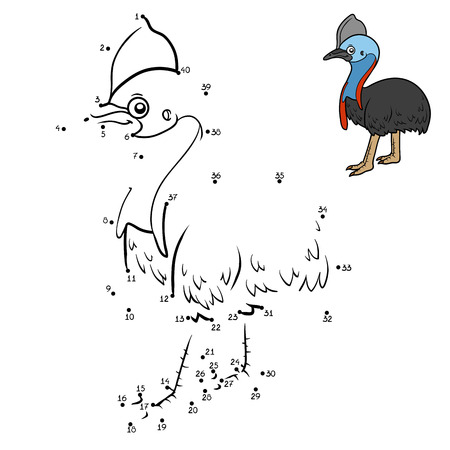 Numbers game, education dot to dot game for children, Southern cassowary