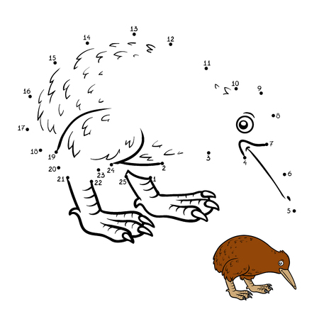 Numbers game, education dot to dot game for children, Kiwi Illustration