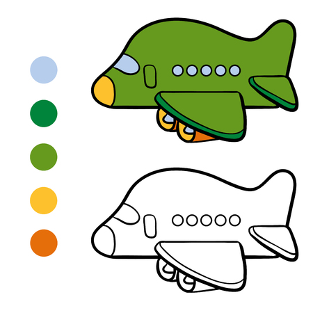 coloration: Coloring book for children, Airplane Illustration