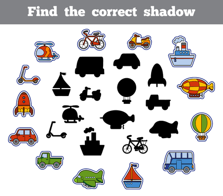 Find the correct shadow, education game for children. Set of cartoon transport Illustration